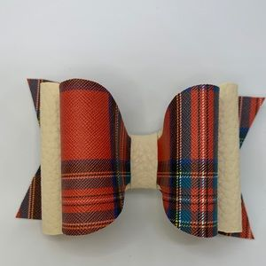 Red Plaid Double Bow Hair Clip